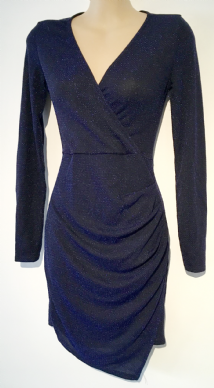 BOOHOO NIGHT NAVY BLUE SPARKLY EVENING WRAP DRESS BNWT SIZE 8